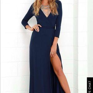 Blue Maxi Wrap Dress